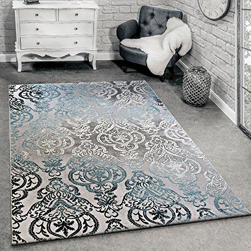 Alfombra De Diseño Moderna para Salón con Dibujo Ornamental Gris Azul, tamaño:80x150 cm