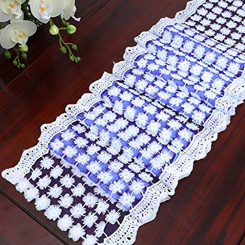 QiangZi Chemin De Table Blanc Dentelle Ajourée Napperon De Mariage D'anniversaire Partie Cuisine / Salon Rectangle Table Tissu; 30 * 250 CM ( taille : 30*250cm )