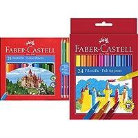 Faber-Castell 110324 Matita Colorata, 27 Pezzi & 949288 Astuccio, Confezione Da 24 Pennarelli