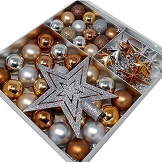 ToCi Juego de decoración para el árbol de Navidad, 45 piezas con bolas, estrella para la copa del árbol, estrellas y cadena de perlas, bonita decoración de Navidad en una magnífica selección de colores
