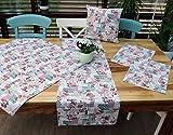 heimtexland Shabby Chic Tischdecke in natur rosa 85x85 cm 100% Baumwolle französischer Landhaus mit Rosen Mitteldecke passende Varianten als Tisch Set und Kissen Typ293
