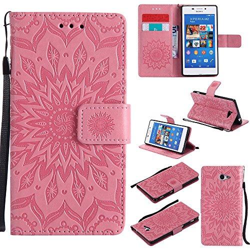 Für Sony M2 Fall, Prägen Sonnenblume Magnetic Pattern Premium Soft PU Leder Brieftasche Stand Case Cover mit Lanyard & Halter & Card Slots ( Color : Brown ) Pink