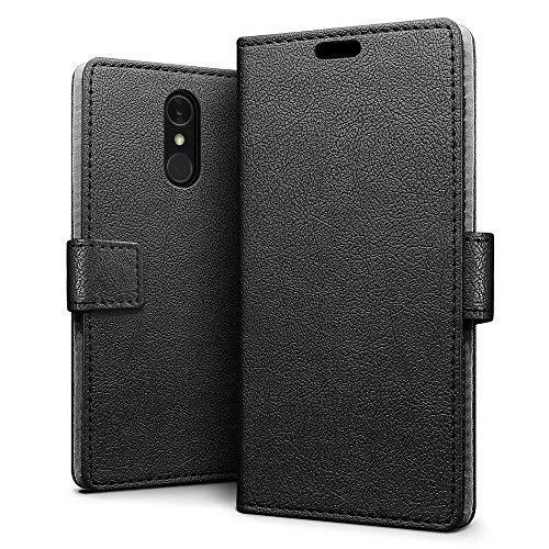 SLEO LG Q7/LG Q7 Plus/LG Q7 Alpha Hülle, PU Leder Case Tasche Schutzhülle Flip Case Wallet im Bookstyle für LG Q7/LG Q7 Plus/LG Q7 Alpha Cover - Schwarz