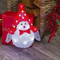 Passerotto bianco e rosso 31 cm, 16 led bianco freddo, luci a batteria, figura di Natale luminosa, decorazioni natalizie