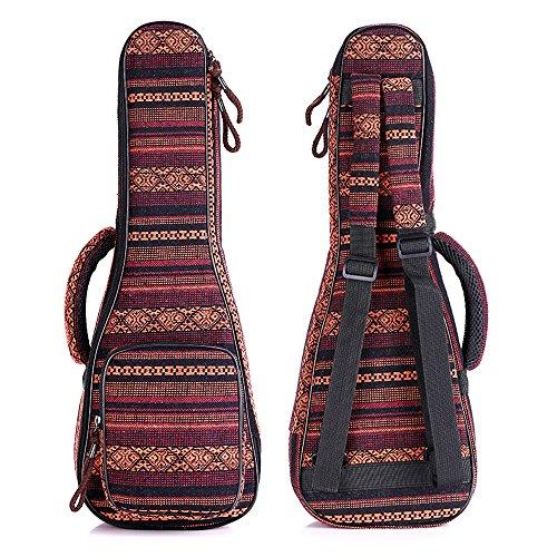 Zealux Ukulele-Tasche im Boho-Stil, mit verstellbaren Schulterriemen und 10 mm dicken Schaumstoffpolsterung 23/24 in Bohemia-B