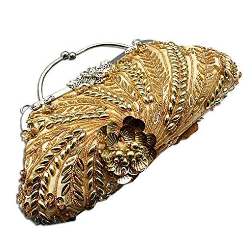 KAXIDY Borsa Pochette Della Borsa Sacchetto Cerimonia In Rilievo Donne Eleganti Pochette Da Sera Spalla Borsa Tracolla Oro