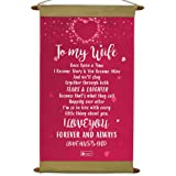 Indigifts Birthday Gift for Wife Printed Pink Message Love Scroll Card 17x9.5 Inches - Anniversary Gift for Wife Special, Bes