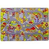 Misento 293303 - Alfombra infantil, 140 x 200 cm, diseño de ciudad