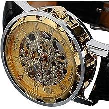 reloj de los hombres, FEITONG Negro Oro cuero de los hombres del dial mecánico esquelético del reloj del deporte
