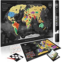 Wond3rland Premium Scratch Off Map of The World + Bonus Europe Map | Personalized Wall Map Poster | Deluxe Gift for Travelers & Travel Tracking | Complete Accessories Set + eBook Included