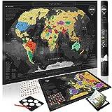 Wond3rland Carte du Monde à Gratter Deluxe + Carte de l'Europe BONUS avec les Pays Décrits| Cadeaux Idéal pour Voyageurs & Suivi des Voyages | Prime: lot complet d'accessoires + eBook