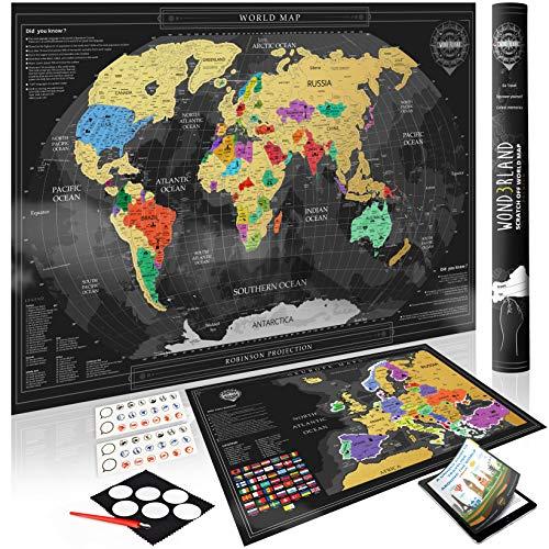 Wond3rland Cartina Geografica del Mondo da Grattare + Mappa EXTRA dell'Europa | Poster di Alta qualità | Idea Regalo per Viaggiatori & Tracciatura di Viaggio |BONUS eBook + Set di Accessori Completo