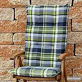 6 Hochlehner Auflagen 120x50x8 cm in grau grün kariert SUN GARDEN Villach 10460-210 ohne Sessel