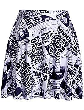 Honghu Verano Vintade Swing Impresión Mini Plisada Falda para Mujer
