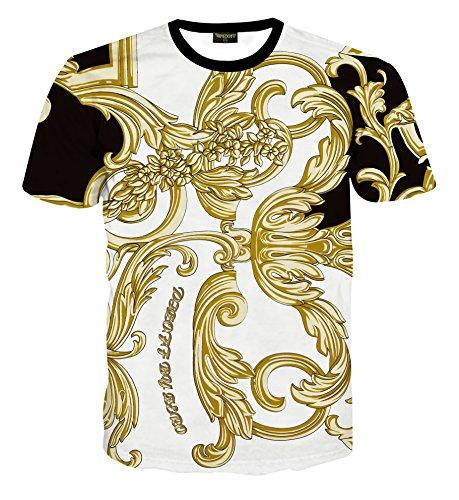 PIZOFF Herren Luxus Slim Fit 3D Druck Golden T-Shirt Palace still Baroque Barock Tshirt Floral Blumen Muster AL067-04-L (Florale Von Gucci)