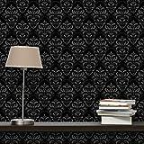 Apalis Vliestapete Dunkler Barock Mustertapete Breit | Vlies Tapete Wandtapete Wandbild Foto 3D Fototapete für Schlafzimmer Wohnzimmer Küche | schwarz, 98180