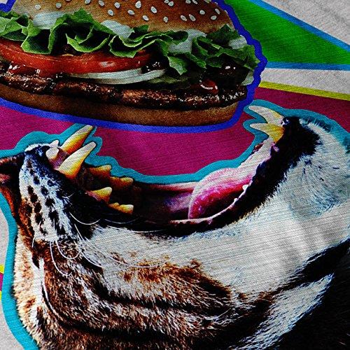 Hamburger Beißen Niedlich Essen Katze Tier Essen Damen S-2XL Muskelshirt | Wellcoda Grau