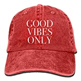 Bgejkos Good Vibes Only Cotton Adjustable Jean Cap Leisure Hats ForAdult