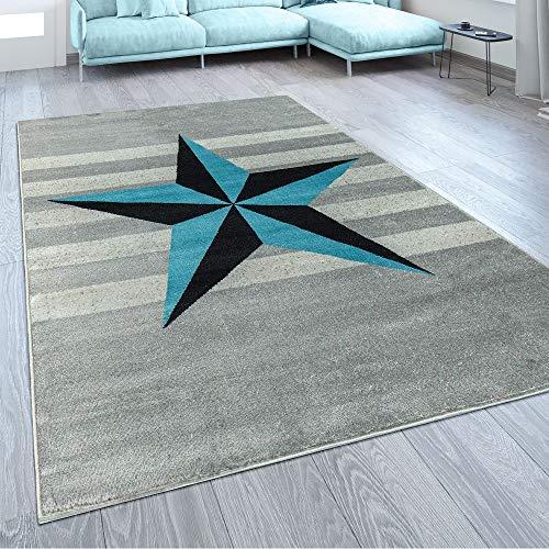 Paco Home Alfombra De Diseño Motivo Estrella Azul