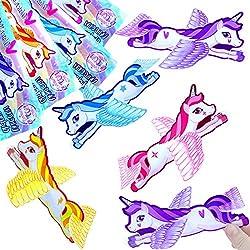 German Trendseller® - 12 x planeadors unicornio ┃voladores unicornios┃los colores del arco iris┃ fiestas infantiles┃ idea de regalo┃piñata┃cumpleaños de niños┃ 12 unidades