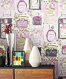 NEWROOM Tapete Rosa Parfüm Mädchen Papiertapete Bunt Papier moderne Design Optik Tapete Vintage inkl. Tapezier Ratgeber