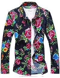410780286222a Camisas De Hombre con Manga Larga Y Flores Rotas. Camisas