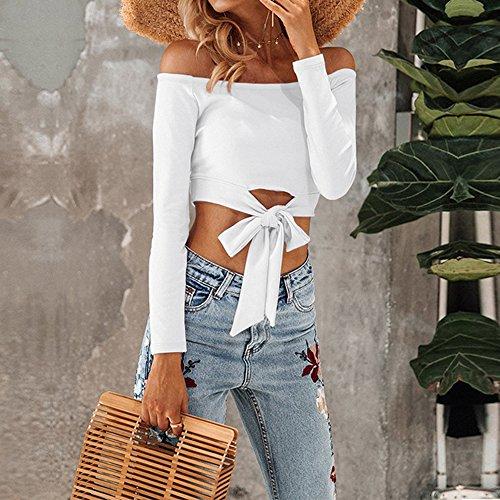 Dihope Femme Printemps Automne T-shirt Manches Longues Bateau Cou Épaule Nu Tee-shirt Casual Haut Top Loisir Mode Blanc