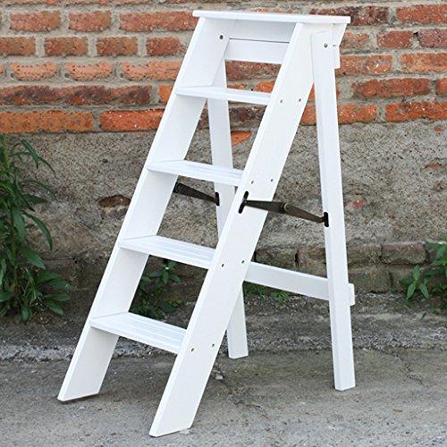 ERRU- Marchepieds escamotables Pliage de bois de pin 5 couches Echelle Tabouret Escabeau plus épais Ménage Multi-fonction Herringbone Ladder, couleur en option, 38 * 50 * 88cm (Couleur : Blanc)