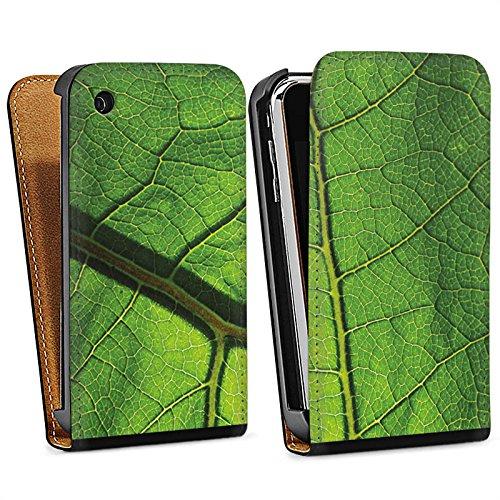 Apple iPhone 4 Housse Étui Silicone Coque Protection Feuille Structure Vert Sac Downflip noir