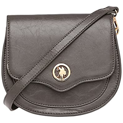 U.S. Polo Assn. Womens Snap Closure Sling Bag Grey  Amazon.in  Shoes ... ef1c170710334