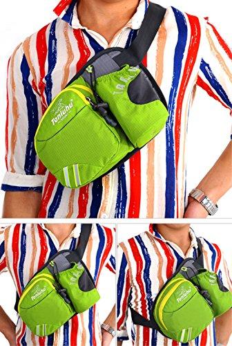 Ausero Multi-Function Gürteltasche Bauchtasche Trinken Flache Taille Tasche mit flaschehalter Unisex zum Sport Aufstieg Reisen Outdoor Farbic Grün