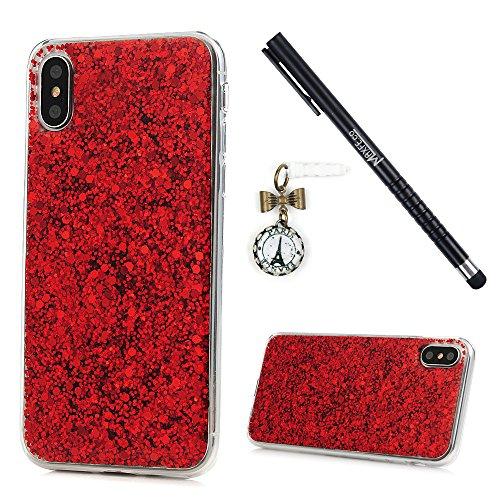 MAXFE.CO TPU Silikon Hülle für iPhone X Handyhülle TPU Rahmen + Acryl Schale Etui PPurpleective Case Cover Rück mit Glitzern Skin TPU Kantenschutz Schutzhülle Purple Rot