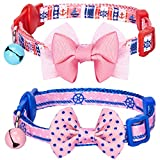 Blueberry Pet Pack of 2 Cat Collars, Girl Power Bahamas Sailor Adjustable Breakaway Cat Collar with Bow Tie & Bell , Neck 23cm-33cm