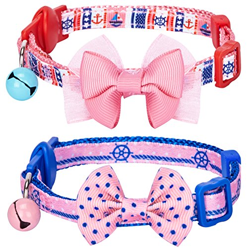 blueberry-pet-pack-of-2-cat-collars-girl-power-bahamas-sailor-adjustable-breakaway-cat-collar-with-b