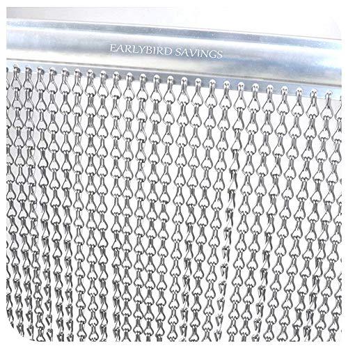 Cortina aluminio plateado 90 x 200 cm mosquitera metálica