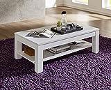 Stella Trading Couchtisch mit Holzboden Tisch, Landhaus, Dekor, Holz, weiß, 120.00 x 65.00 x 40.00 cm