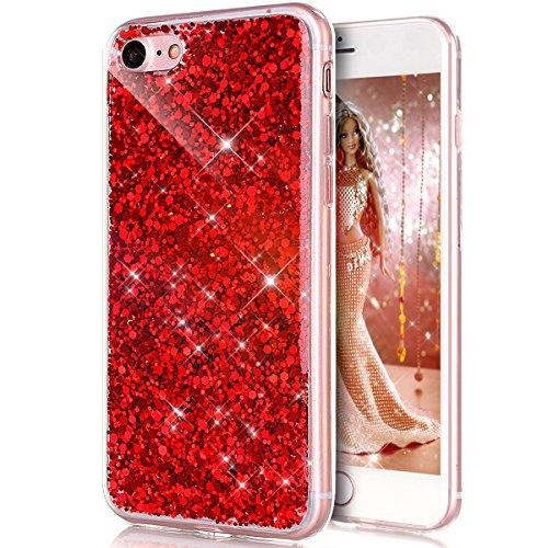 Coque iPhone 7,Étui iPhone 7,iPhone 7 Case,ikasus® Coque iPhone 7 Silicone Étui Housse Téléphone Couverture TPU avec Modèle de diamant brillant paillettes bling brillant diamant glitter Ultra Mince Pr Rouge