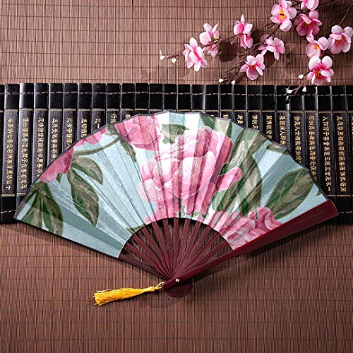 EIJODNL Japanische Fans Faltfächer Fall schöne Bunte Paeonia Suffruticosa mit Bambus Rahmen Quaste Anhänger und Stoffbeutel Papier Hand Fans benutzerdefinierte Faltfächer Bambus Hand Fan