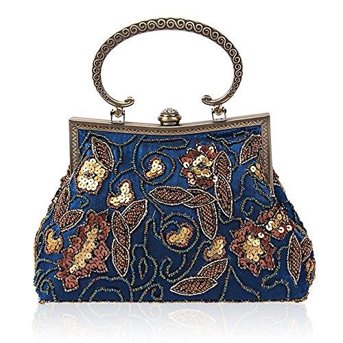 Borse da donna Retro Handmade in rilievo spalla diagonale pacchetto di sera Blue
