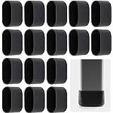 AILANDA 16 stuks stoelpootbeschermer, vloerbeschermer, voetkappen voor tuinstoelen, klapstoel, ovaal, 38 x 20 mm, zwart, van