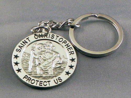 large-chromed-metal-keyring-st-christopher-safe-travel-patron-saint-key-ring