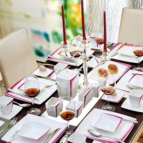 Malacasa, Serie Rebeca 40P, Set 40 tlg. Porzellan Kaffeeservice Frühstück Geschirrset Eckig Teeset für 6 Personen, OHNE KUCHENTELLER ODER SUPPENTELLER - 4