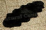 Zaloop Merino Doppel Lammfell Teppich extra groß versch. Farben und Größen echt Läufer (schwarz, ca.190 x 60-70 cm)