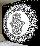 Aakriti Gallery Hippie-Wandteppich/-Tagesdecke im Mandala-/Boho-/Psychedelic-/Intricate-/Indien-Stil, 233,7x 208,3cm Hamsa