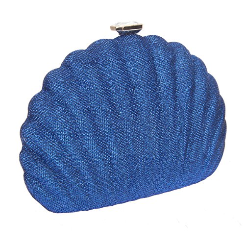 Bonjanvye Shell Shape Clutches for Wedding and Party Bag for Girls Rose Navy blue