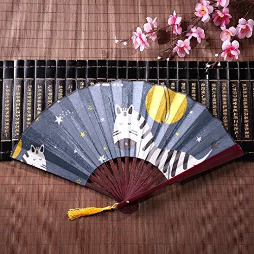 AGIRL Personalisierte Hand Fans Cartoon niedlichen Zebra mit Bambus Frame Quaste Anhänger und Stoffbeutel große chinesische Fan Hand Fan Baby Handheld Bambus Fan