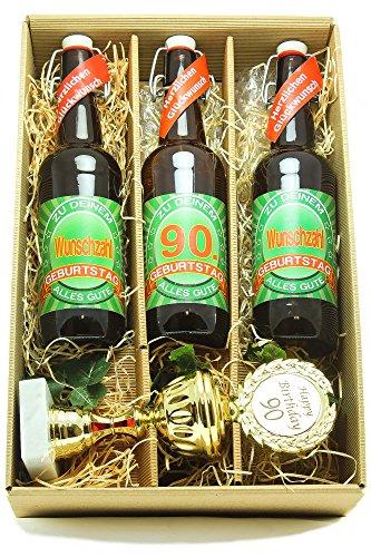 Bier Geschenk Präsentkarton mit Bier und Pokal 90. Geburtstag