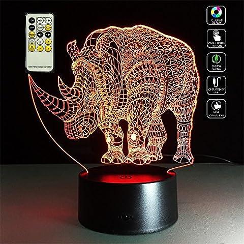 Deerbird® Gefährdet Tier Nashorn figürchen 3D Visualisierung Illusion Multicolor Veränderung USB / 3-AA Batterien Ferngesteuert LED Nachtlicht für Zimmer Dekorative oder Freunde Kinder