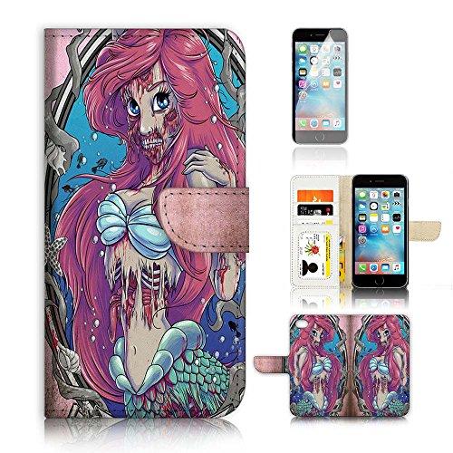 'Displayschutzfolie für iPhone 6Plus/iPhone 6S Plus Flip Wallet Case Cover & Bundle a20116Zombie Meerjungfrau. (Meerjungfrau Zombie)