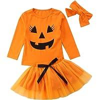 Carolilly Ensemble Halloween Enfant Bébé Fille T-Shirt Manche Longue + Jupe Tutu en Tulle + Bandeau